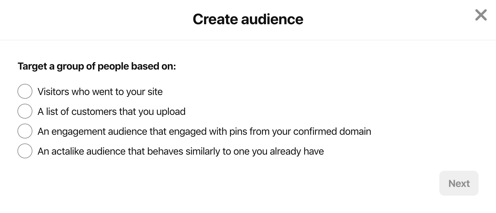 pinterest ad targeting - types of audiences to create