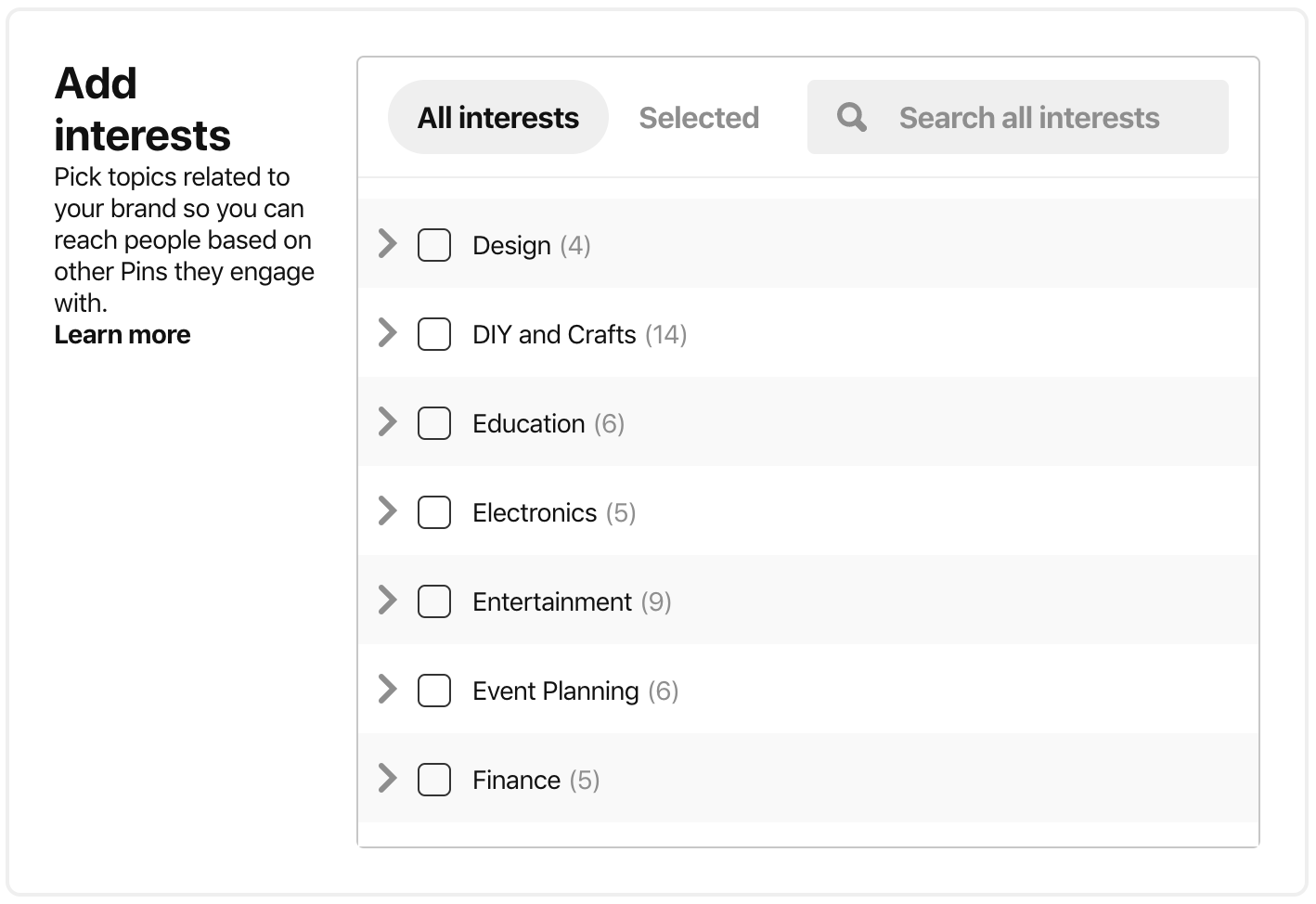 pinterest ad targeting - pinterest interest targeting