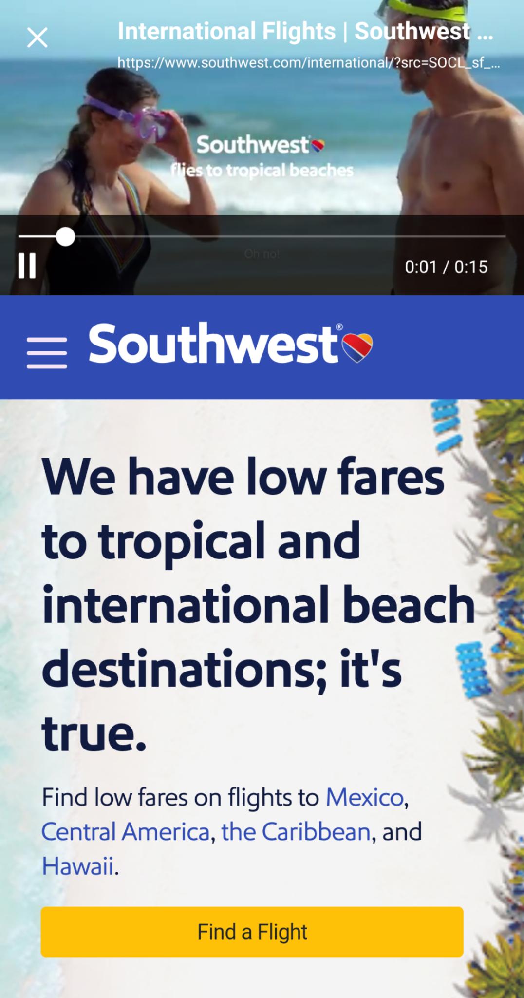 southwest landing page