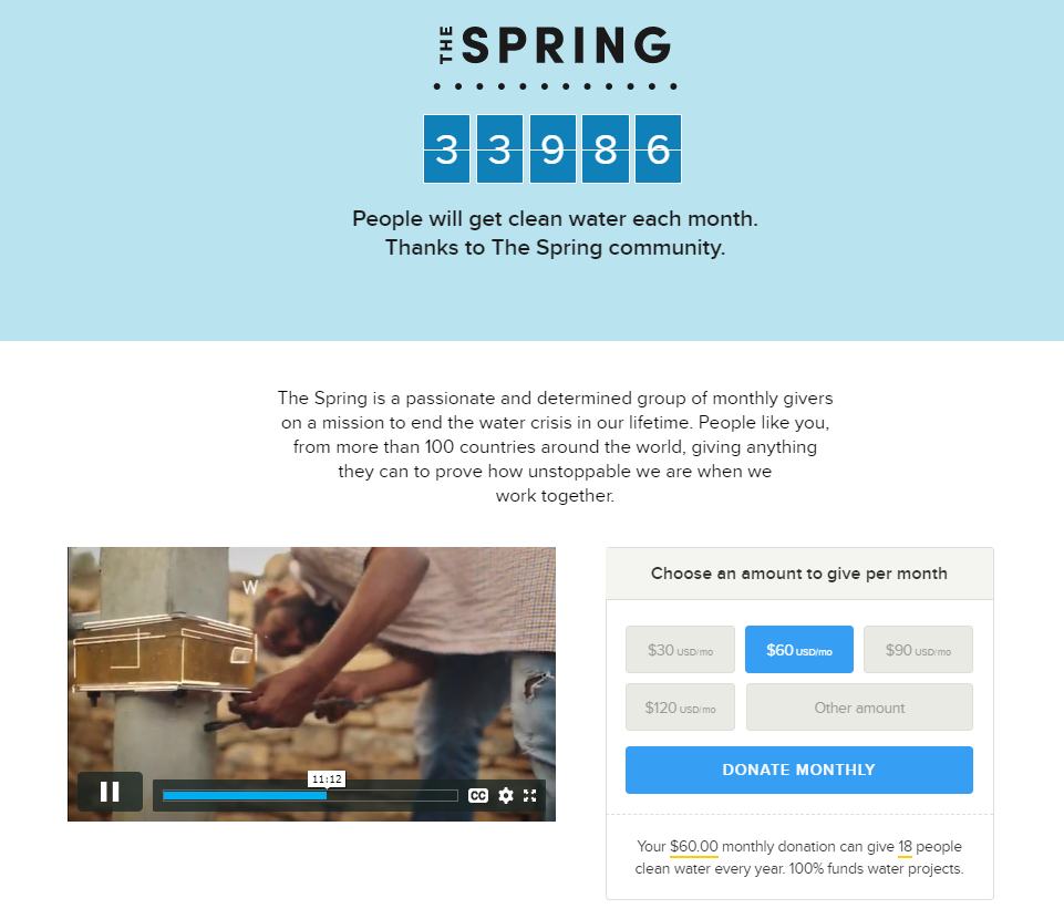 Many landing page examples for nonprofits include front-and-center donation links