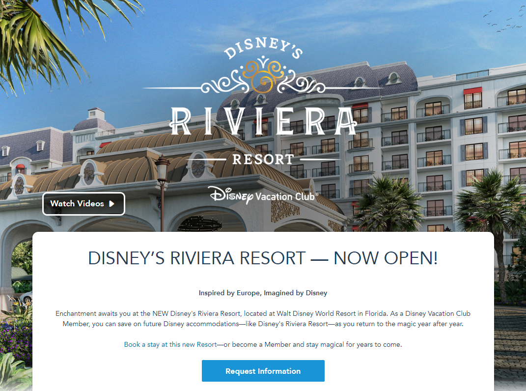 disney vacation club landing page example