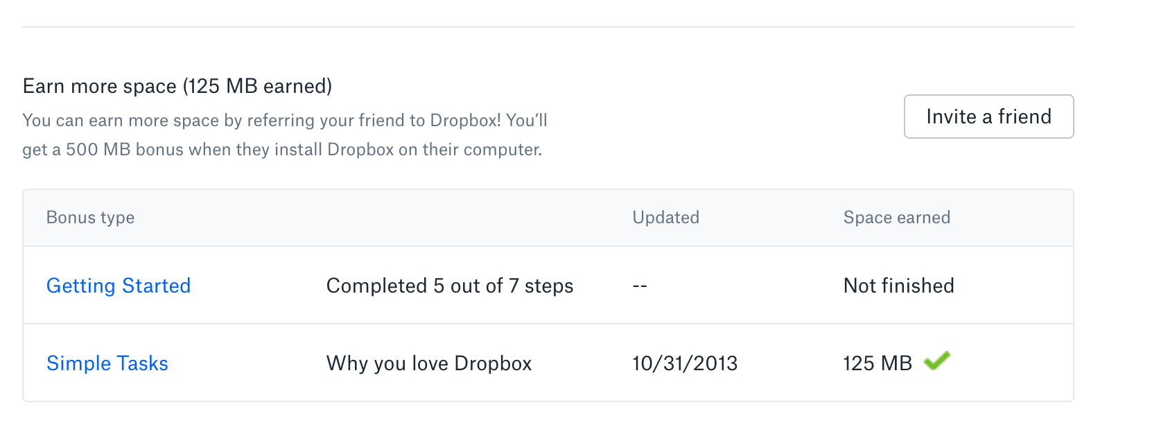 "Screenshot of Dropbox's ""invite a friend"" customer incentive program."