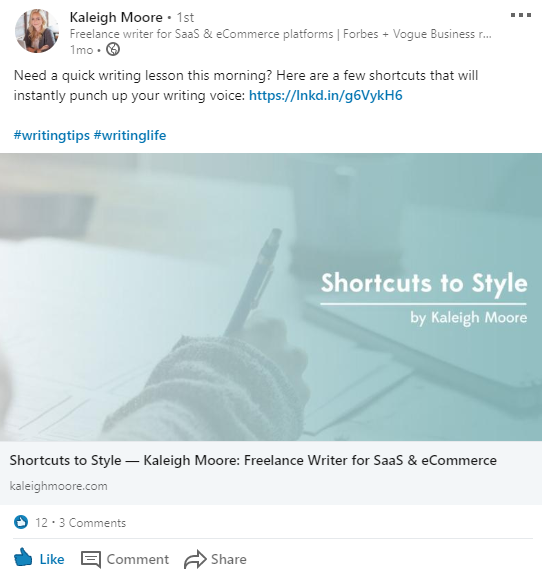 Couple your content on LinkedIn with hashtags