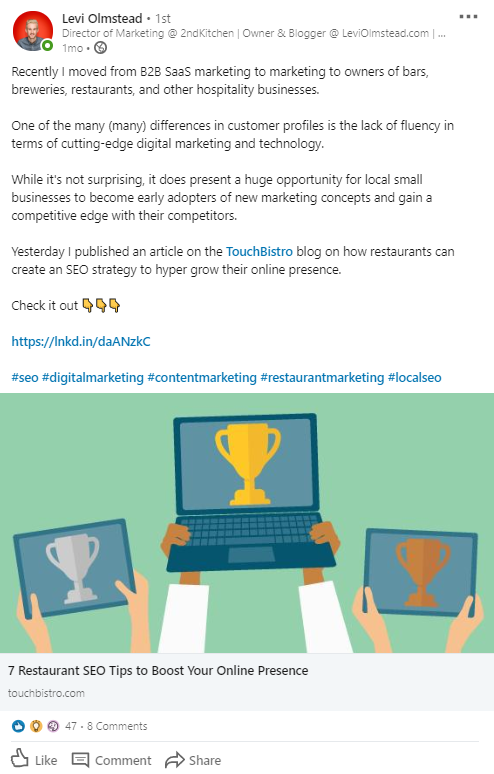 Coupling your LinkedIn posts with hashtags is a smart move for lead generation