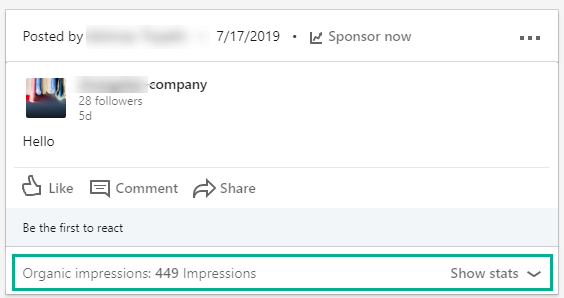 "LinkedIn ""Show stats"""