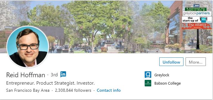 professional LinkedIn profile photo of Reid Hoffman