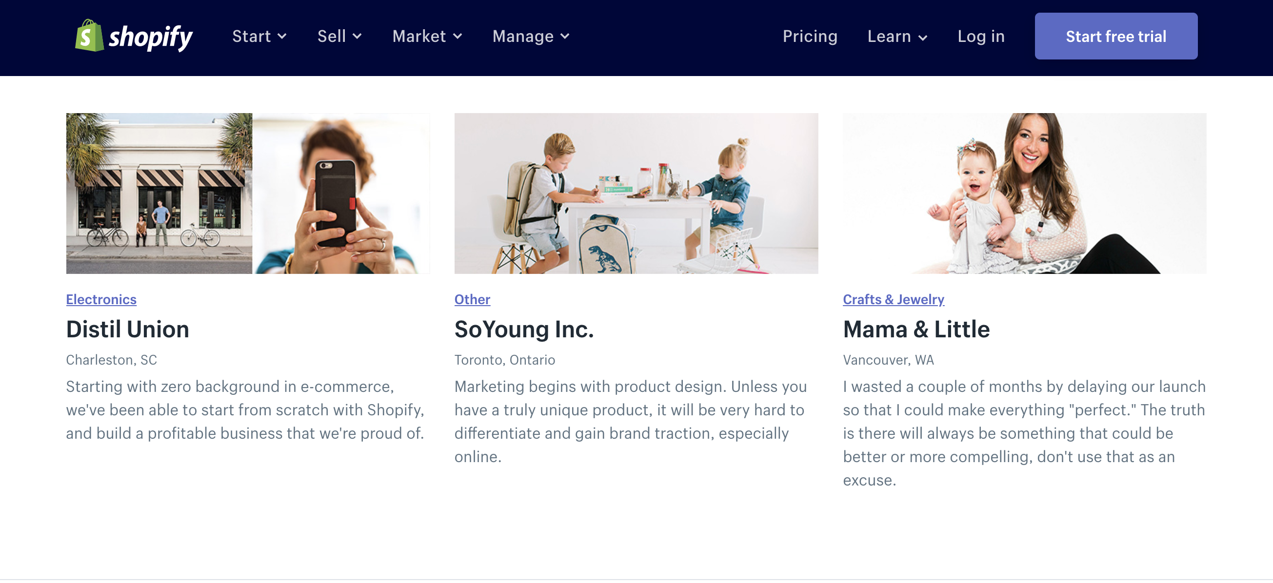 Screenshot of Shopify's customer success blog to emphasize brand advocacy.
