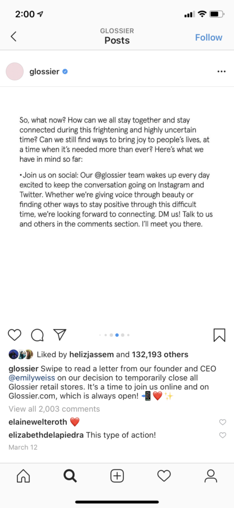Instagram post by Glossier encouraging community to connect on social while stores close
