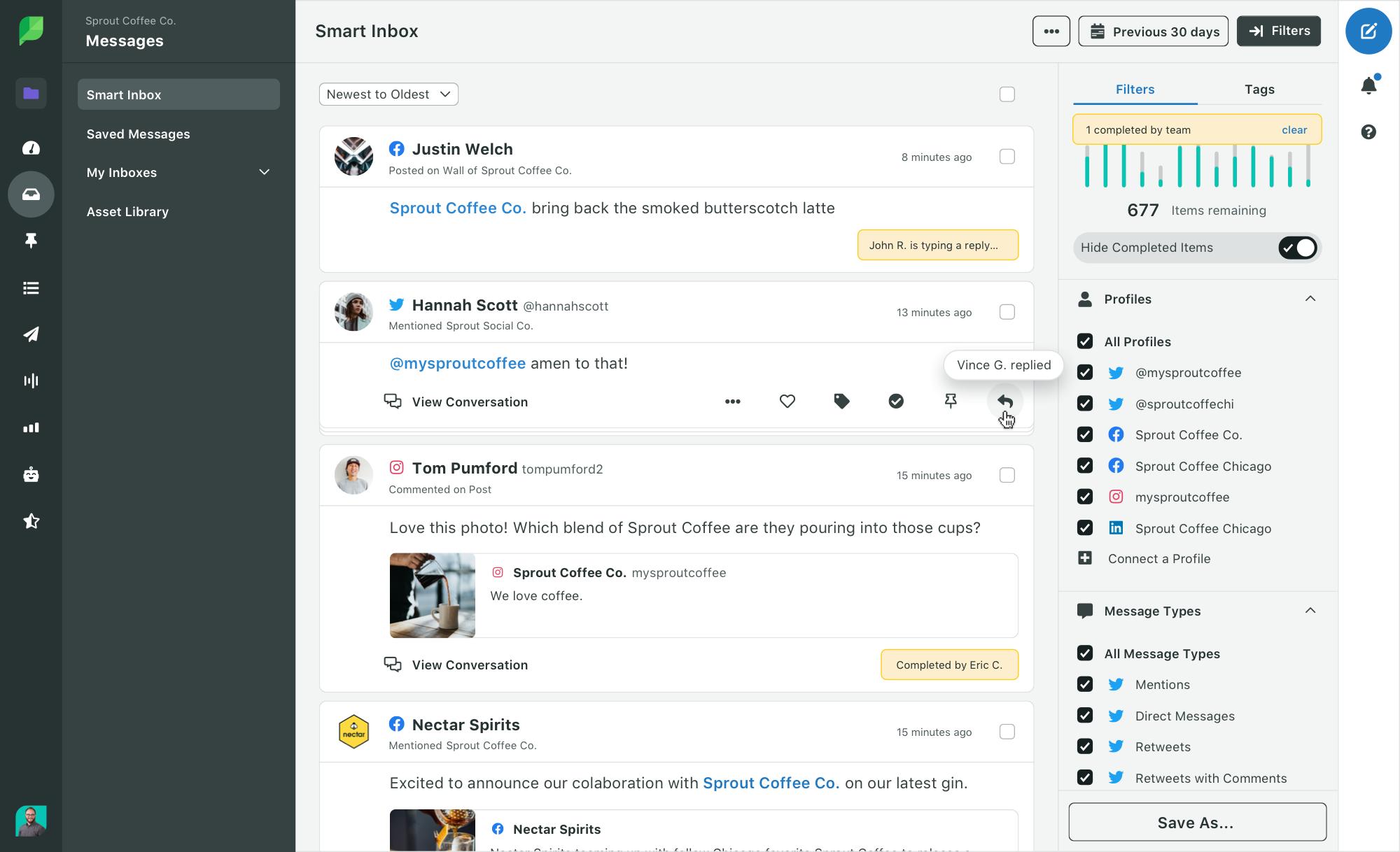 Sprout Social Smart Inbox - Showing Collision Detection Feature