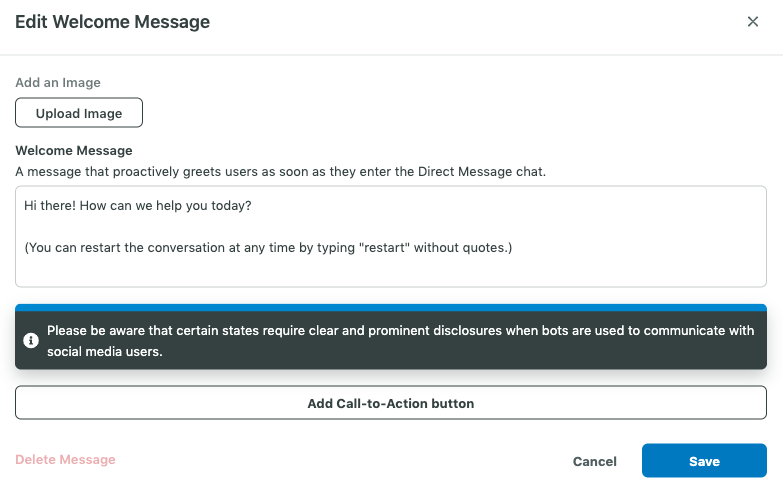 Create an automated Welcome Message on Twitter