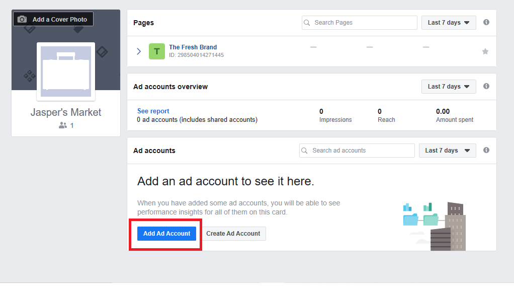 add account button on facebook business manager