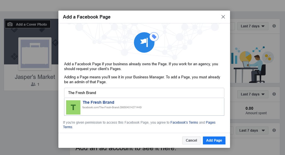 add page window on facebook business manager