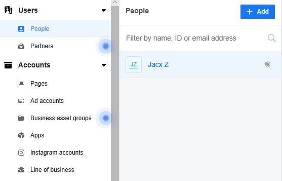add people window facebook business manager