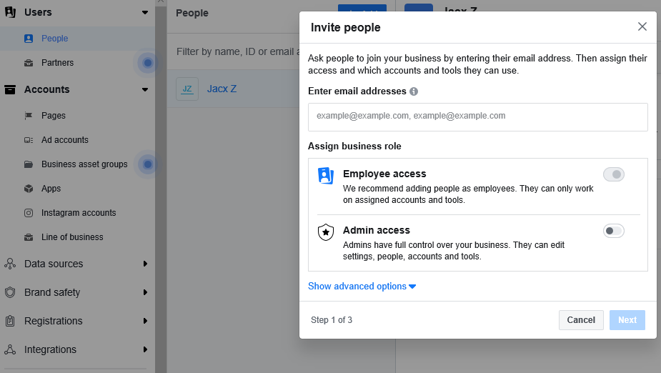 invite people window facebook business manager