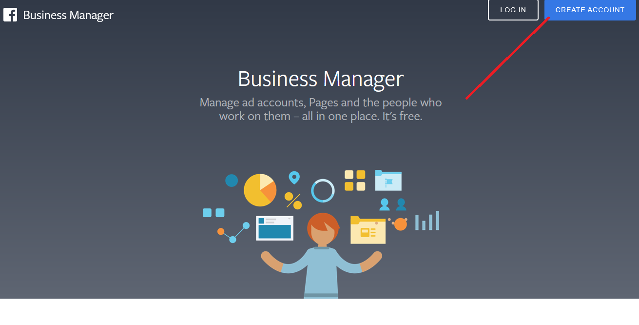 create account page for facebook business manager