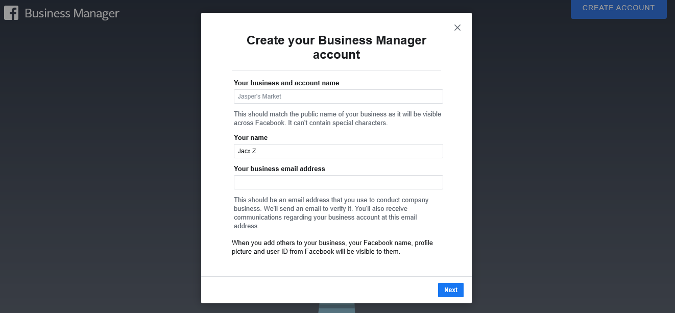business manager account creation page 1
