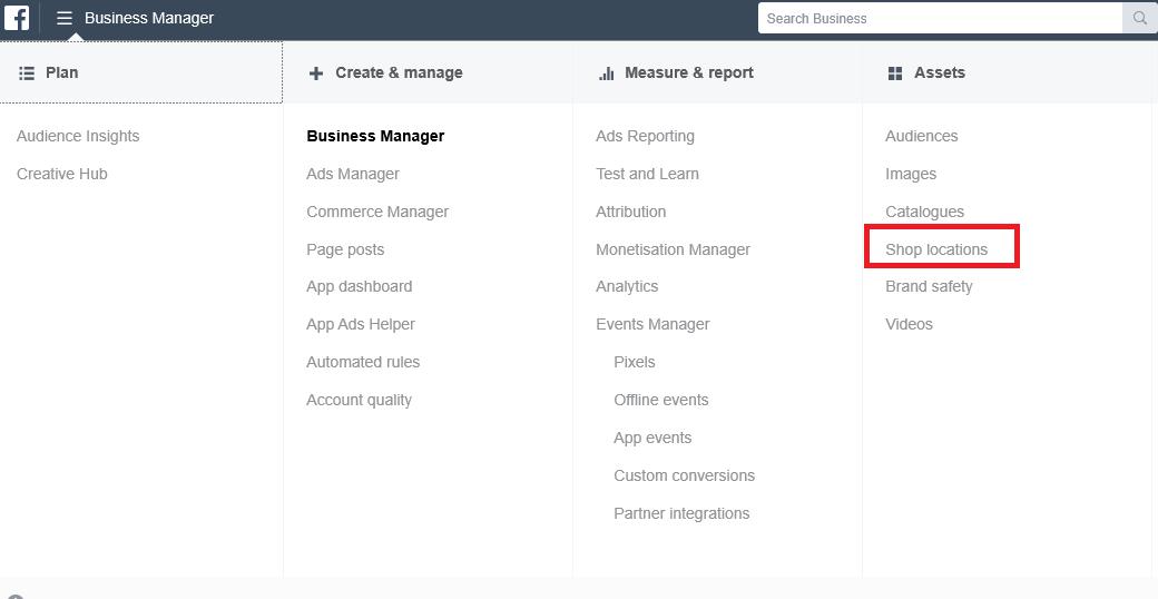 business manager dropdown menu