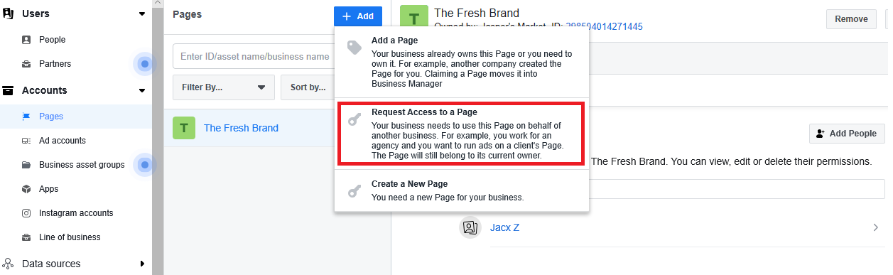 request access option for facebook business manager