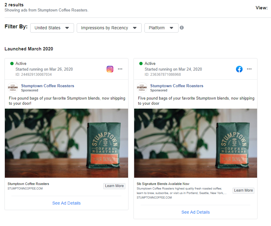 Facebook tools such as the Ads Library allow you to see what your competitors' live ads look like in real-time