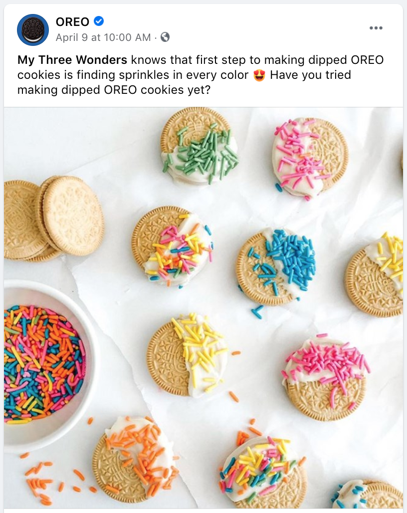 facebook post ideas - oreo sharing product photos