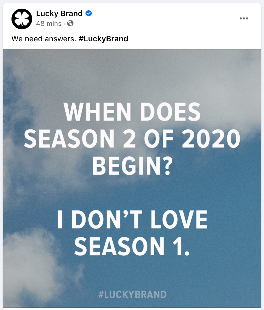 facebook post ideas - lucky brand showing off their brand personality