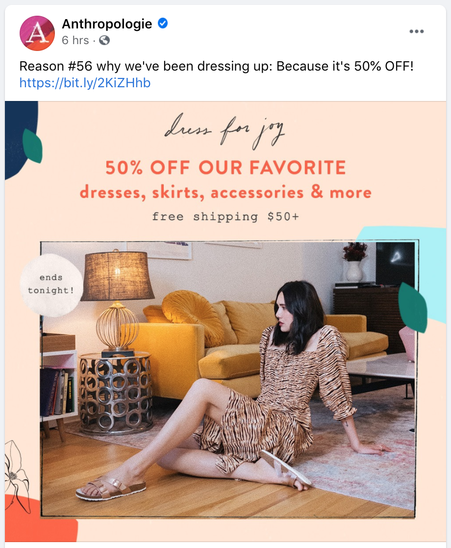 facebook post ideas - anthropologie sharing a sale on facebook
