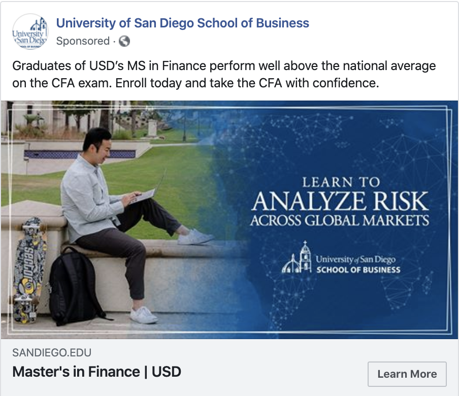 Facbook ad example from University of San Diego School of Business