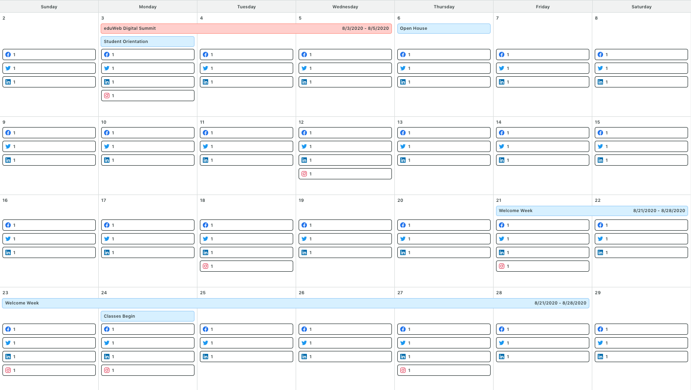 calendar with school events
