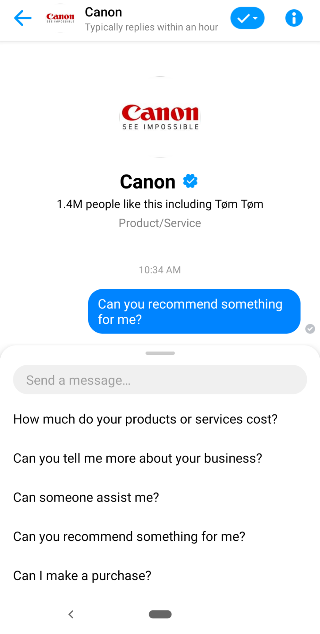 canon's chatbot highlights how social media automation works in tandem with social selling