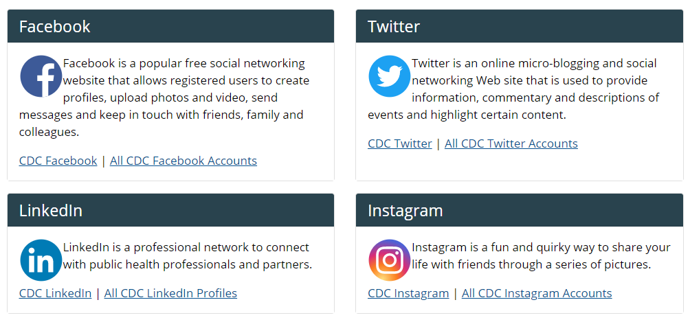 CDC uses multiple social media channels for various purposes