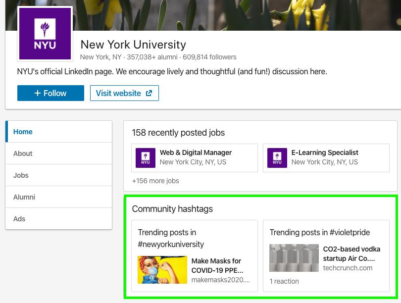 NYU hashtags on linkedin