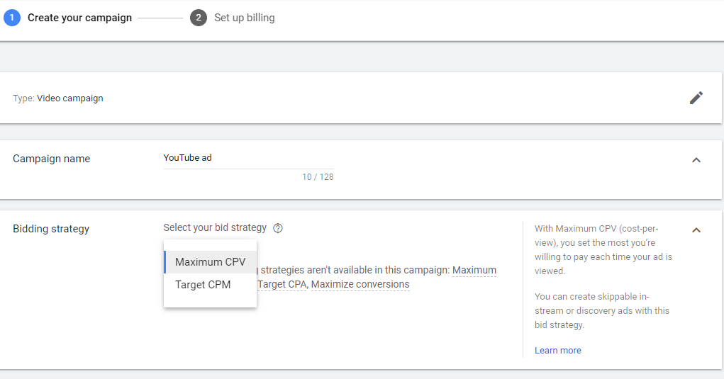 google and youtube ad customization page with campaign name and bidding strategy fields