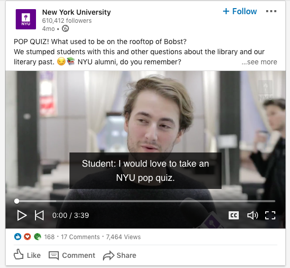 nyu linkedin post with video example