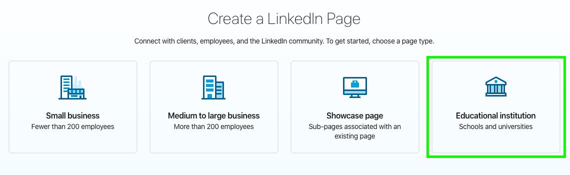 linkedin create a school page