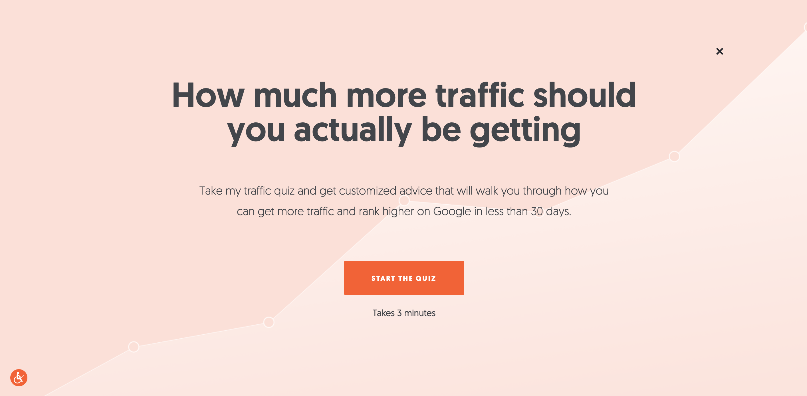 Screenshot of the opt-in page for Neil Patel's website traffic lead magnet quiz.