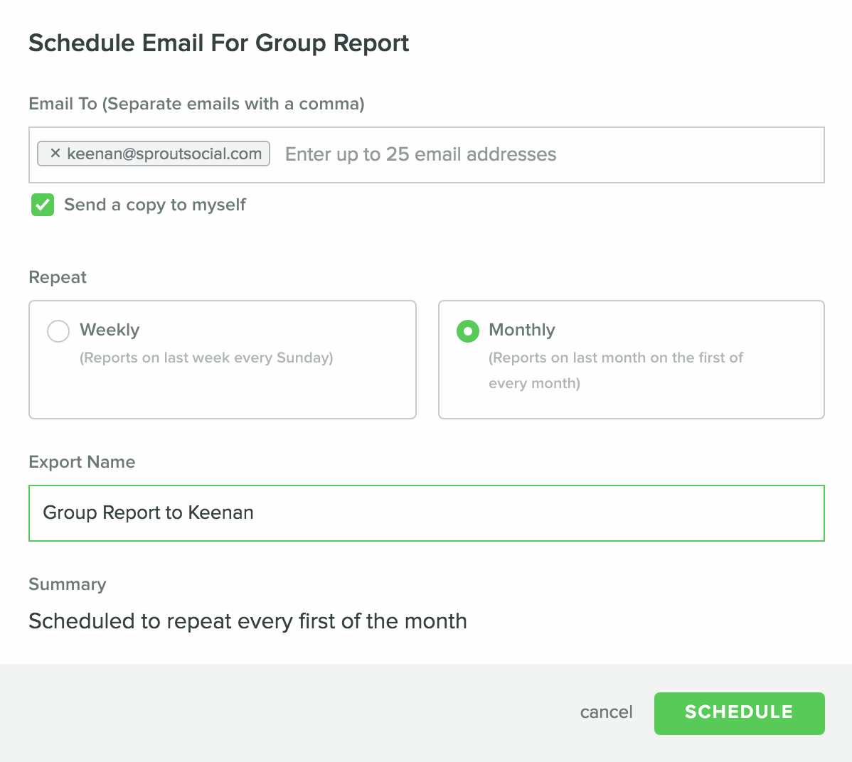 social media automation reporting in Sprout