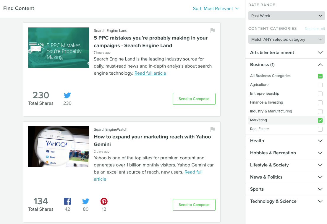 sprout social's curated content is a great example of how social media automation saves time