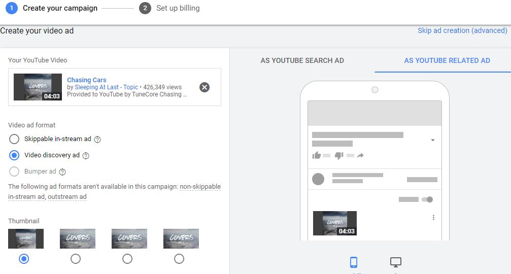 youtube video ad customization options
