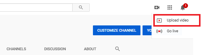 video upload button on youtube