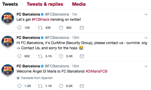 FC Barcelona hacked Twitter account