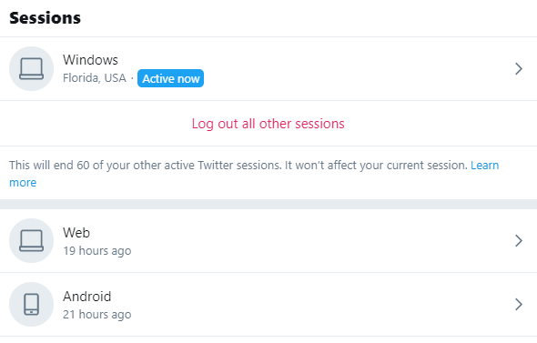 Twitter sessions