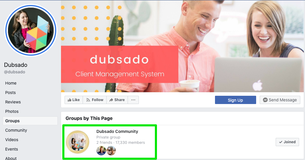 dubsado Facebook community for engagement