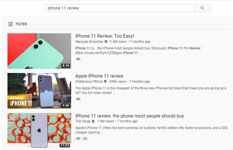 youtube search results for iphone 11 with attractive thumbnails as part of youtube marketing strategy