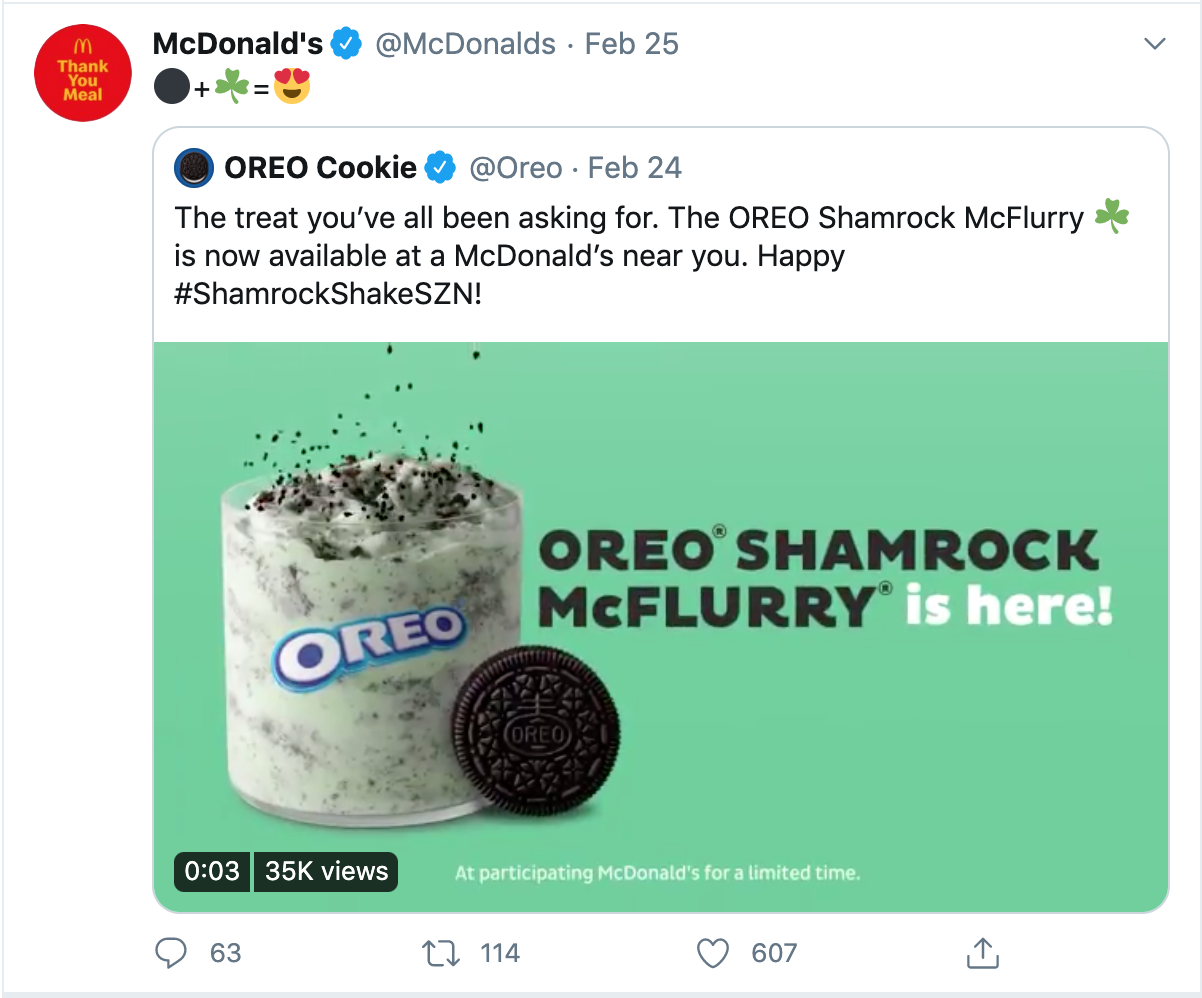 Screenshot of a tweet featuring McDonalds and Oreo's St. Patricks Day Partnership using emoji to describe their new Oreo Shamrock McFlurry.