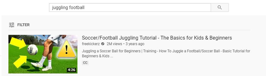 top result for the keyword soccer juggling based on keyword results