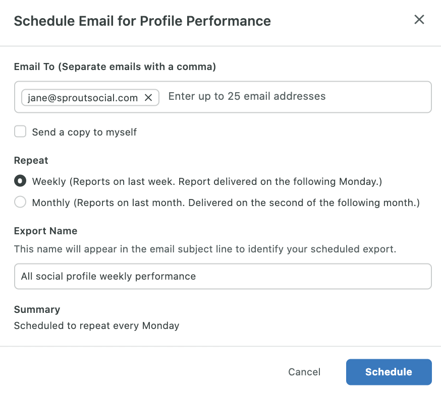 schedule report delivery in sprout