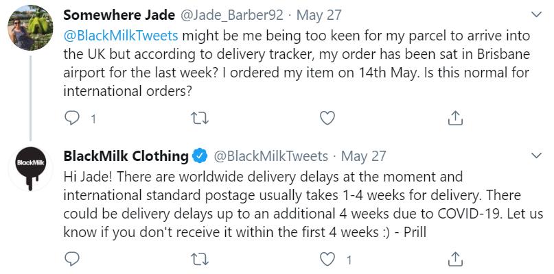 black milk twitter response