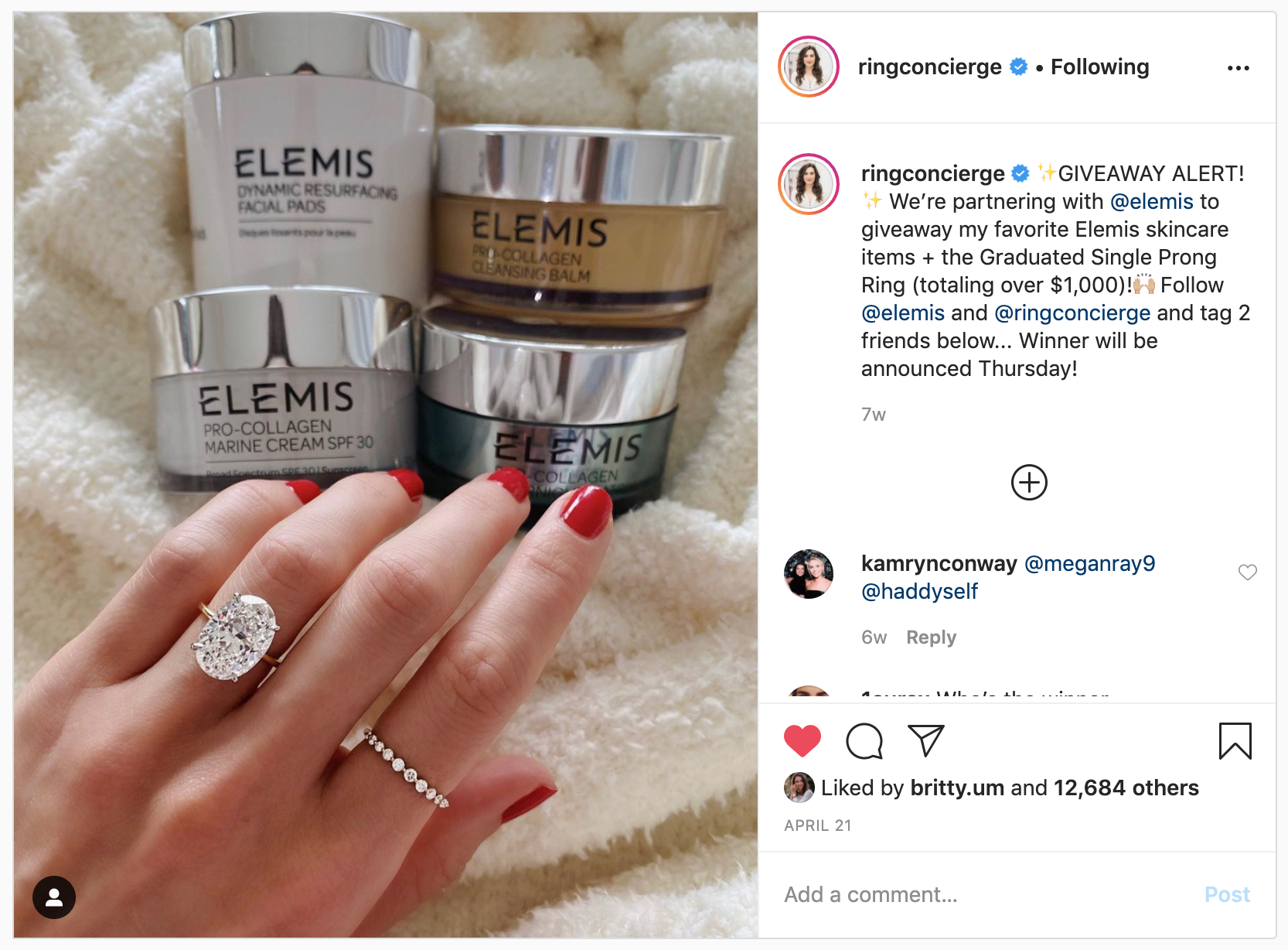 instagram contest - ringconcierge contest example