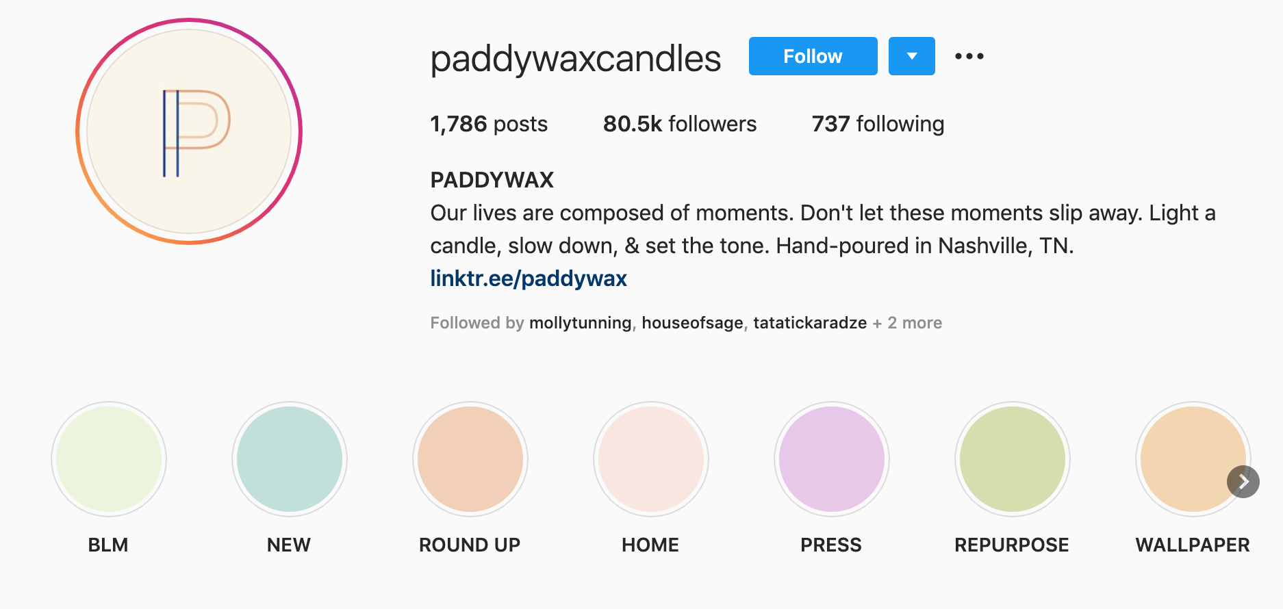 instagram branding - paddywax candle instagram story highlights