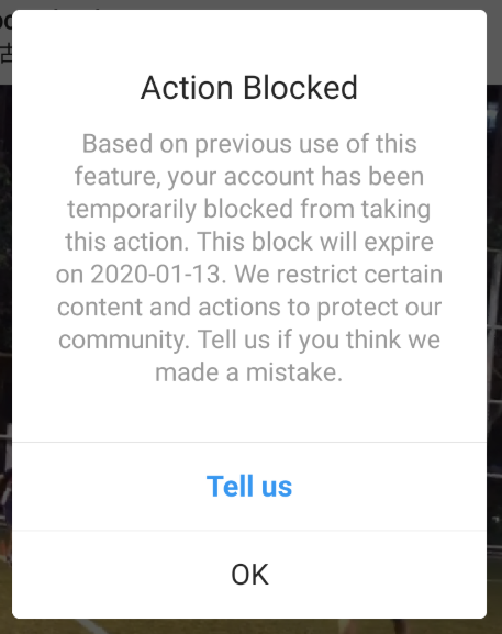 taking too many actions via Instagram automation can result in a blocked account